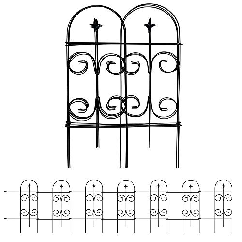Amagabeli Decorative Garden Fence 32inx12ft Fencing Rustproof Black Iron with Fleur De Lis Decoration Folding Wire Patio Fencing Border Edge Sections Edging Flower Bed Barrier Decor Patio Fences FC06