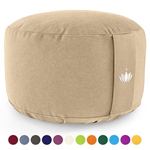 Lotuscrafts Coussin de méditation Lotus - Hauteur d'assise 20 cm - Rembourrage d'épeautre - Housse en Coton Lavable - Coussin Yoga - Coussin de Sol Rond - Meditation Accessoires - Certifié GOTS