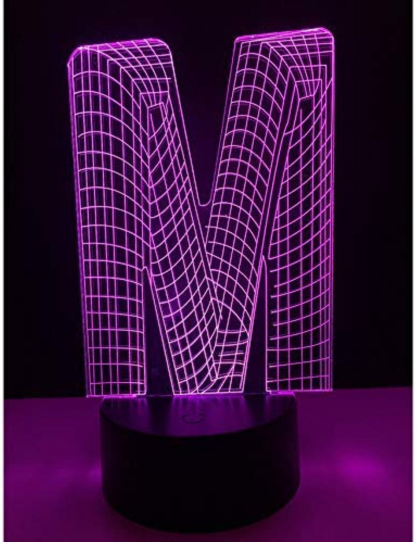 8a1221479392 BMY 7 colors Uniqu3D Night Light Alphabet Letter M USB Atmosphere ...