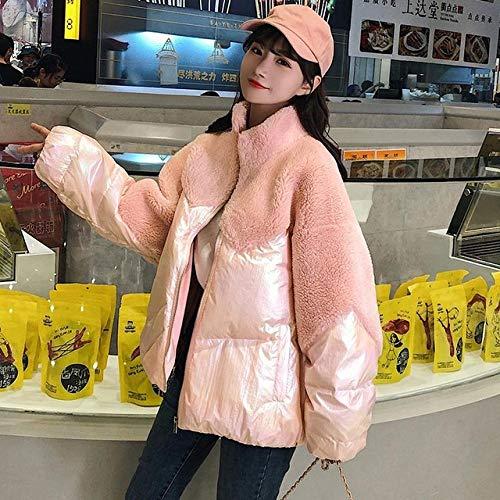 KGLOPYE Daunenmantel Winter Neue Frauen helle Patchwork Jacke Jacke Mantel Stehkragen Reißverschluss lose Baumwolle Baumwolle Glanz Mantel, Pink, M