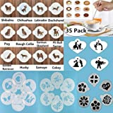 34-Pack Coffee Decorating Stencils + Coffee Latte Art Pen, Magnoloran Cookie Cutter Embossing Mold Cupcake Stencil Molds Coffee Art Stencils Barista Template for All Kinds of Latte, Cappuccino, Mousse