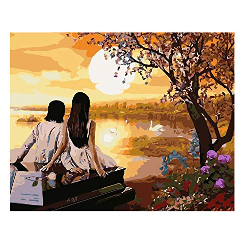 Jkykpp Sunset Couple on Piano Hand Made Paint Canvas Mooie Painting by Nummer Surprise Gift Great Accomplishment