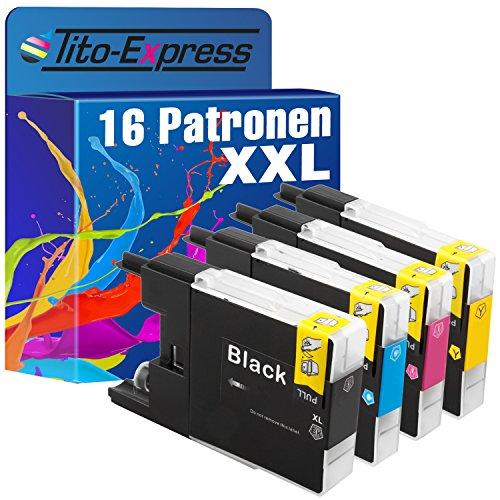 platinumserie–Juego de 16cartuchos de tinta XXL compatible para Brother LC1240Black cian Magenta Yellow Impresora Brother DCP-J525W DCP-J725DW DCP-J925DW MFC-J430W J5910DW MFC-J625DW MFC-J6510DW MFC-J6710DW MFC-J6910DW MFC-J825DW MFC de MFC-J835DW por 30ml Black y 20ml Color