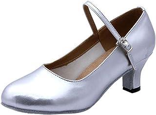 BOZEVON Women's Comfortable Tango Ballroom Latin Salsa Waltz Dance Round Toe Shoes