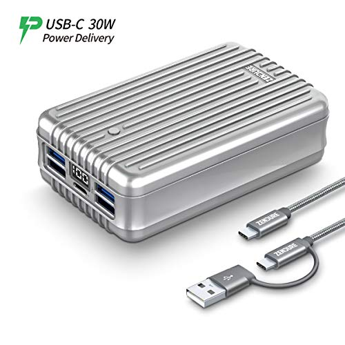 Zendure A8PD - Batterie Externe 26800mAh (Résistante aux Chocs, 5-Port Charge Rapide 3.0, 42W Power Delivery pour iPhone, MacBook, iPad, Android, Nintendo Switch, USB, USB-C, Portable), Argent