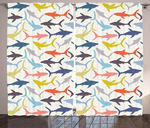 Ambesonne Shark Curtains, Mixed Pattern of Sharks in Various Tones Frighten Panic Phobia Pacific Home Print, Living Room Bedroom Window Drapes 2 Panel Set, 108