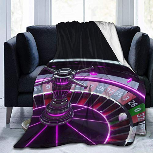 CEZEHAJI Throw Blanket for Kids Teens Adults Warm Casino Roulette Wheel Gambling Concept with Neon Lights On Black Microfiber All Season Living Room/Bedroom/Sofa Couch Bed Flannel Quilt