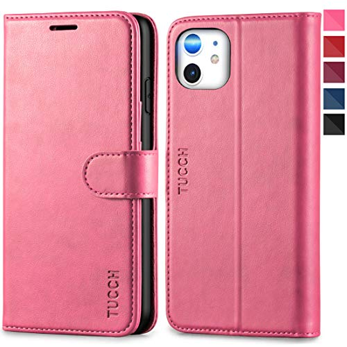 TUCCH iPhone 11 Case, iPhone 11 Wallet Case, Magnetic PU Leather Stand Flip Folio Cover with TPU Protective Inner Shell, RFID Blocking Card Slots Compatible with iPhone 11 (2019 6.1 inch), Hot Pink