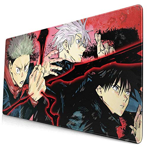 Jujutsu Kaisen Custom Made Anime Mouse Pad 15.8x29.5 Inch (40cmx75cm) Large Non-Slip Gaming Mouse Pad Rubber Stitched Edges Desk Mat for Office Home & Gamer