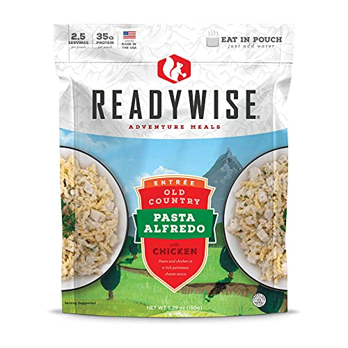 ReadyWise Old Country Pasta Alfredo with Chicken (Single Pouch) | Freeze-Dried Backpacking & Camping Food | 2 Servings | Made with Real Chicken