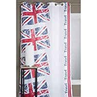 Ce rideau, qui porte les couleurs du drapeau de l'Angleterre imprimé sur son tissu, donnera un aspect original et créera une déco dépaysante qui invite au voyage.Dimensions : 140 cm de largeur x 245 cm de hauteur.Vendu par paire. Composition: 100% Po...