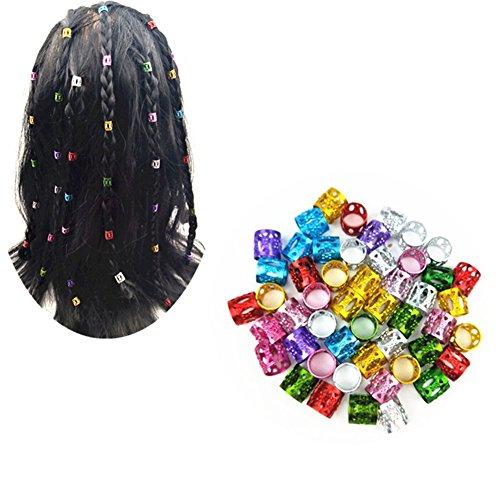 Ruier-Hui 100 Stück mix Farbe verstellbar Haar Perücke Dread Locks Manschetten Clip Flechten Dreadlocks Perlen für Frisur (Cuff Clip 7mm Loch Clip)