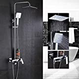 BINGFANG-W Mezclador de níquel cepillado soporte de ducha de lluvia pared caño giratorio montaje cuarto de baño ducha fija sola palanca ducha de lluvia Ducha