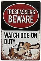 レトロな面白い侵入者はホームバーホテルオフィスカフェの番犬の番犬に注意してくださいアートワークのプラークをぶら下げ壁の装飾的なヴィンテージの看板ギフト女性男性の友人8X12インチ メタルプレートブリキ 看板 2枚セットアンティークレトロ