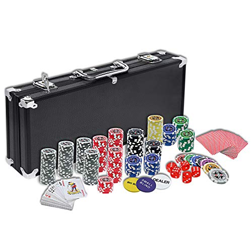 HENGMEI Set de póker Juego de póquer con 500 Chips Láser Aluminio 5 Dados, 2 Barajas de Cartas, 3 Ficha de Crupier, Color Negro