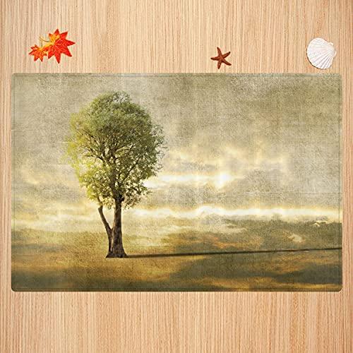 Alfombra de baño Antideslizante,Árbol, Paisaje Surrealista con árbol Solitario en Tonos Beige...