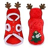 Ropa de Navidad para gatos Perros pequeños Gatos Disfraz de Papá Noel Gatito Traje de cachorro Sudadera con capucha Ropa cálida para perros Mascotas Accesorios de ropa (Color: Rojo, Talla: S)