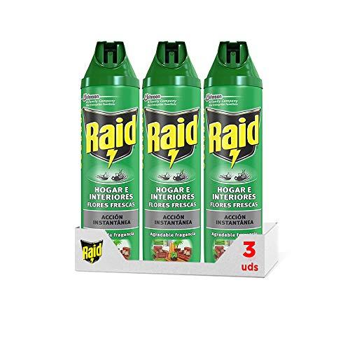 Raid ® Spray Insecticida - Aerosol para moscas y mosquitos, Flores Frescas. Eficacia inmediata. Hogar e interiores. Pack de 3 Unidades, 600ml