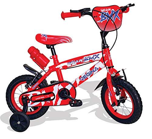 Mediawave Store - Regina BMX GVC-5422 Bicicletta per Bambini Misura 12 con 2 Freni, Bici per Bambini con rotelle, 3-4 Anni, Bicicletta per Bambini Piccoli, Bici BMX con Borraccia (Rosso)