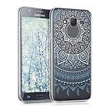 kwmobile Funda para Samsung Galaxy J5 (2015) - Carcasa de TPU para móvil y diseño de Sol hindú en Azul/Blanco/Transparente
