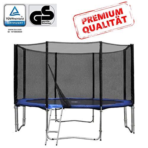 Baunsal GmbH & Co.KG Gartentrampolin Trampolin 366 bis 370 cm in blau mit Sicherheitsnetz und Einstiegsleiter
