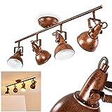 Lámpara de techo Tina, de metal en marrón/blanco oxidado, 4 llamas, con focos...