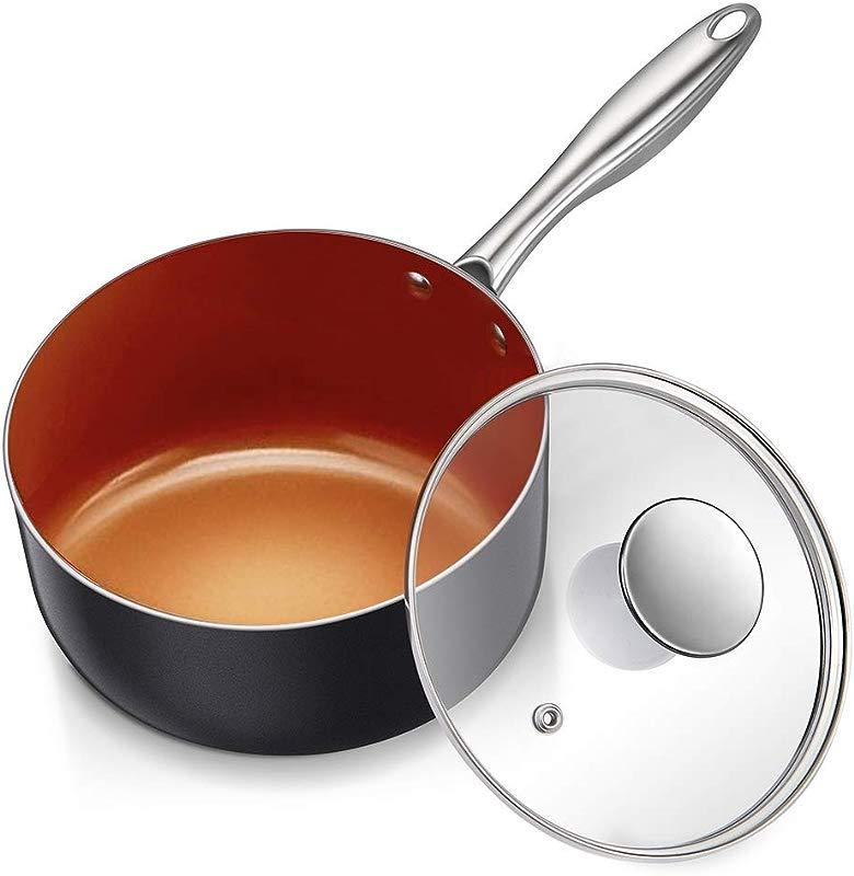 MICHELANGELO 3 Quart Sauce Pan With Ultra Nonstick Ceramic Titanium Coating Nonstick Saucepan With Lid Copper Saucepan Ceramic Sauce Pan 3Qt Saucepan With Lid Small Sauce Pot Copper Pot 3 Qt