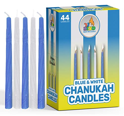 Ner Mitzvah Hanukkah Candles - Blue and White Chanukah Candle - Premium Quality Wax - 44pk. for All 8 Nights of Hanukkah