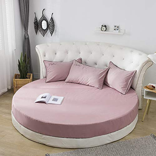 Mhtop Sábana Ajustable 100% algodón con Bandas elásticas Ropa de Cama para colchón Redondo Colcha Doble tamaño Queen de Color sólido
