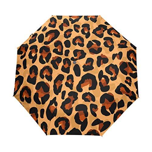 FANTAZIO drievoudig Travel Paraplu Kleurplaten Luipaard Patroon auto open paraplu Lichtgewicht