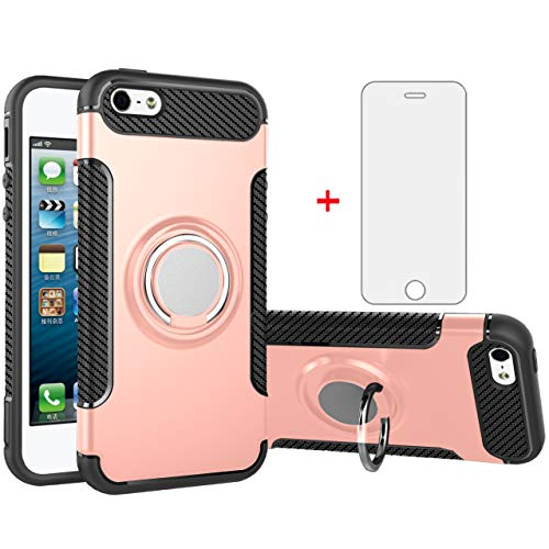 Phone Case for Apple iPhone 5S 5 SE 5SE 2016 with Tempered Glass Screen Protector Cover Stand Ring Holder Hybrid Cell Accessories iPhone5 iPhone5s iPhoneSE iPhone6se i 6SE iPhone5se Cases Rose Gold