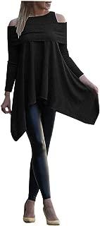 Kiminana Women Fashion Cold Shoulder Irregular Sweatshirt Tops Casual Solid Color Long Sleeve Loose Pullover Blouse