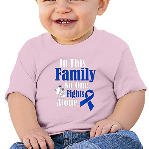 In This Family No One Fights Alone Colon Cancer Baby T Shirt Short Sleeve Tops Bodysuit Crawling Clothes
