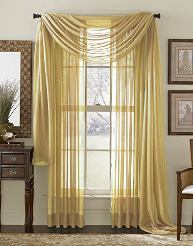 """Luxury Discounts Beautiful Elegant Solid Gold Sheer Scarf Valance Topper 40"""" X 216"""" Long Window Treatment Scarves"""