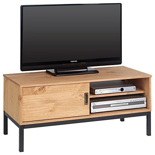 IDIMEX Lowboard TV Möbel Selma, Fernsehtisch Fernsehschrank im Industrial Design mit 1 Schiebetür 1 offenes Fach, Kiefer massiv, gebeizt gewachst