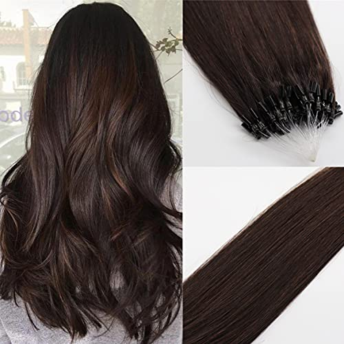 1g/Strand 50Strands 50g Micro Ring Beads Hair Extensions Real Human Hair Silky Straight Micro Rings Loop Human Hair Extensions 18 inch Color #2 Dark Brown