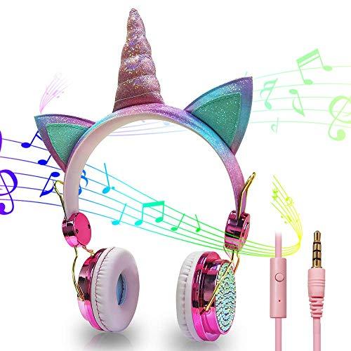 HLJK Auriculares con Cable, Resplandeciente Unicornio sobre El Oído para Auriculares con Cable, Ajustable Plegable Auriculares con Cancelación De Ruido del Micrófono De 3,5 Mm Cable De Audio