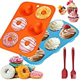 TOOP Moldes de silicona para donuts, 2 unidades, 6 cavidades, antiadherentes y aptos para lavavajillas, aptos para microondas para 6 donuts, bagels, muffins
