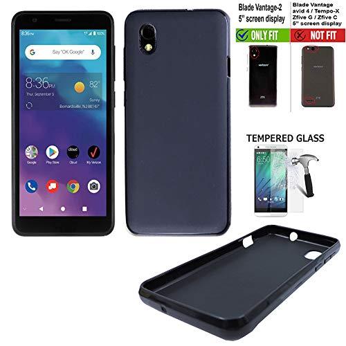 Wireless Accessories Phone Case Compatible with ZTE Blade Vantage-2 Case/Verizon Blade Vantage-2 Case +Tempered Glass with 2Tone Flex Gel Cover (Flex Gel Black +Tempered Glass)