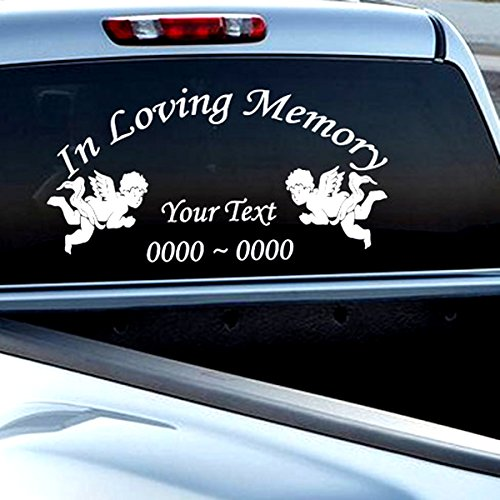 In Loving Memory of Personalized Wings Angel Vinyl Car Decal Sticker
