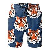 Mens Swim Trunks Ultra-Light Packable Summer Jungle Tigers in...