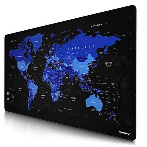 CSL - Übergröße DEUTSCHES Layout Mauspad 1200x600mm Weltkarte - XXXL Mousepad groß mit Motiv - Tischunterlage Large Size - XXL Gaming z.B. für Logitech Maus und Tastatur | blau