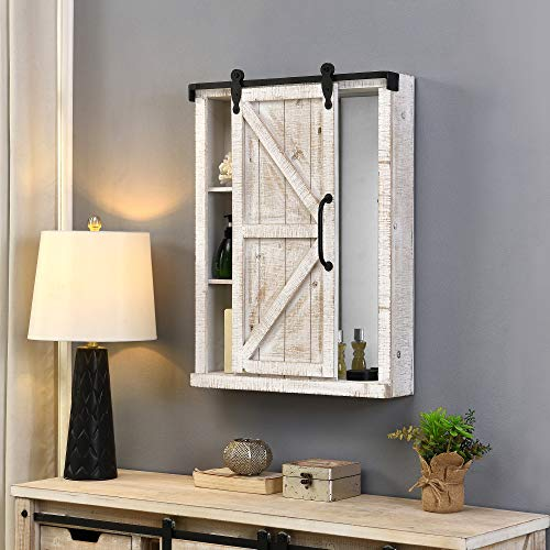 FirsTime & Co. Winona Farmhouse Barn Door Cabinet Mirror, American Crafted, Aged White, 21 x 5.5 x 28 ,