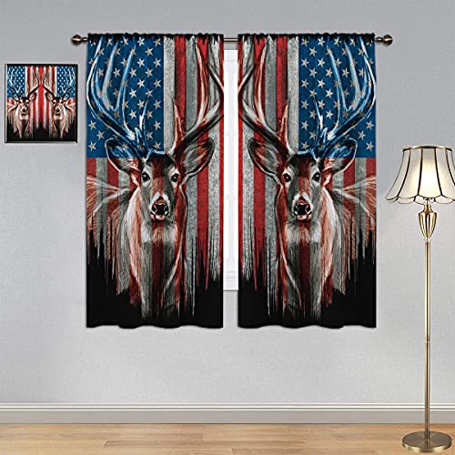 GY Deer Curtains, Thermal Insulated Printed Curtain Camouflage Rustic Patriotic Deer Big Antler Old Forest Retro American Flag Curtains Rod Pocket Blackout Kids Curtains 42x45 Inch