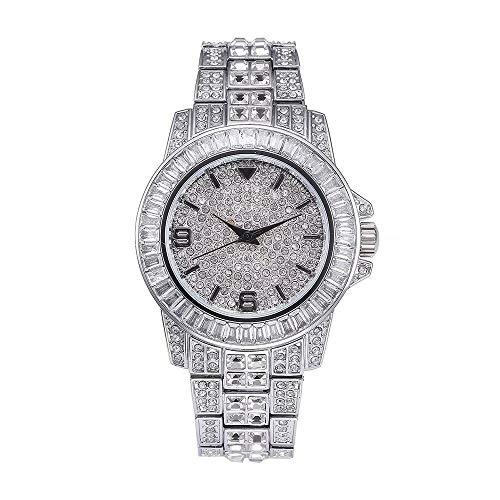 Orologio da uomo con cinturino in metallo pieno di diamanti con diamanti Orologi da donna con quadrante in cristallo con diamanti - Movimento al quarzo giapponese