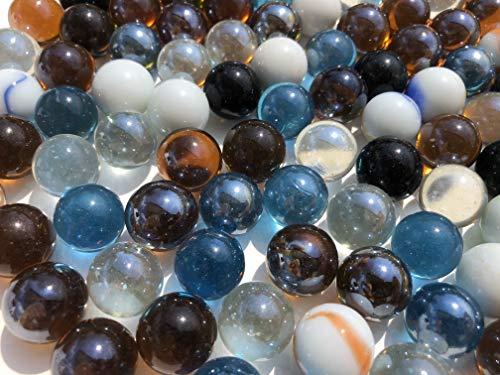 Rhinestone Paradise 100 Stück Murmeln Bunte Glaskugeln Dekokugeln 16mm Murmel bunt blau weiß schwarz durchsichtigGlas deko Glas Kugel Murmeln aus Glas