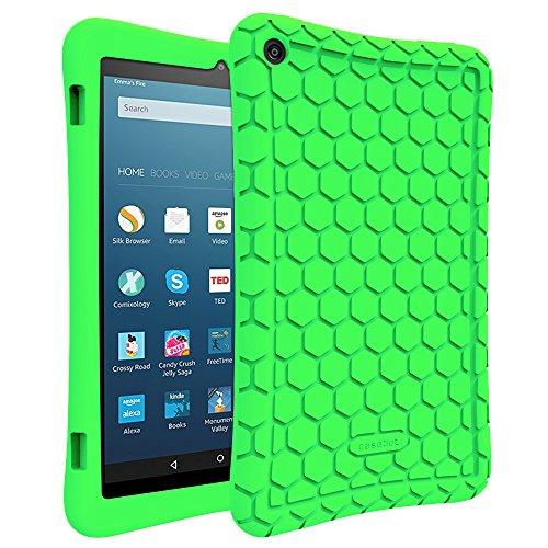 Fintie Hülle für Amazon Fire HD 8 Tablet (7. & 8. Generation - 2017 & 2018) - Leichte rutschfeste Stoßfeste Silikon Tasche Hülle Kinderfre&liche Schutzhülle, Grün