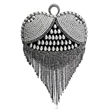 Bolso De Noche Mujeres Corazón Borla Diamantes De Imitación Mujeres Bolsos De Noche Perla De Imitación Señora S Mango Bolso De Noche Anillo De Dedo Pequeños Embragues-Ym1090 Negro