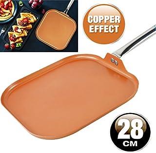 Sartén parrilla de cobre antiadherente de aluminio para inducción de cocina y cerámica (28 cm)