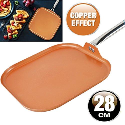 Sartén parrilla de cobre antiadherente de aluminio para inducción de cocina y...